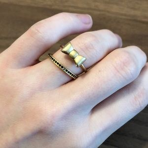 Madewell antique brass bow ring black stone ring